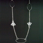 Pewter Long Elegant Trinity Necklace (#JPEW6057)