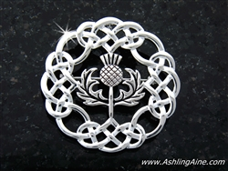 Stunning Scottish Eternity Celtic-knot Thistle Brooch/Pendant (#JPEW6074)
