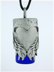 "Pewter Angel's Heart Aromatherapy Keepsake Vial 36"" Cord(JPEW6501)"