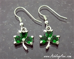 Lead Free Pewter Emerald CZ Shamrock Earrings(JPEW7004)