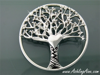 Pewter Round Tree of Love Brooch(JPEW7020)
