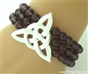 """The Strength"" Celtic Knot Trinity Stretch Bracelet Hematite, Green and Purple beads (#JPEW6506)"