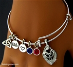"""A Celtic Mother's Love"" Birthstone TRINITY CHARM BANGLE:(MAC)"