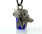 "Pewter Wolf and Feather Dream Catcher Aromatherapy Keepsake Vial 36"" Cord(PEW216)"