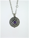 "Pewter Celtic Knot & Amethyst Diffuser Pendant on 24"" Chain (#PEW8009)"
