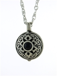 "Pewter Celtic Knot & Black Onyx Diffuser Pendant on 24"" Chain (#PEW8011)"