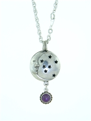 "Pewter Moon & Stars Diffuser Pendant w/ Amethyst on 24"" Chain (#PEW8012)"
