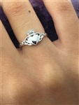Sterling Silver Claddagh w/ Trinity Knots Ring (#Q1264)