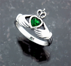 Beautiful, Stately and Traditional Sterling Silver Claddagh Ring w/ CZ (#Q3017)