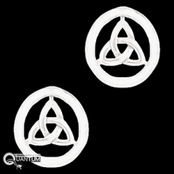 Sterling Silver Eternity Circle Trinity Knot Post Earrings (#Q3036)