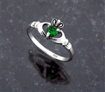 """Let Love and Friendship Reign"" Dainty Sterling Silver Claddagh Ring Heart CZ (#Q3043)"
