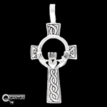 Sterling Silver Celtic Cross w/ Claddagh & Knotwork (#Q4163)