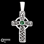 Sterling Silver Celtic Cross w/ Trinity Knots & Green CZ (#Q66612)