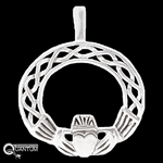 Sterling Silver Claddagh & Celtic Knotwork Circle Pendant (#Q805)