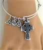 Bold Reversible Celtic High Cross Charm Bangle (RPEW25)