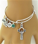 """Emerald Island"" Celtic High Cross Bangle Charm Bracelet (Rpew32)"