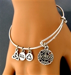 Scottish Thistle Charm Bangle Bracelet (RPEW33)