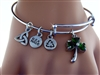Green Emerald Shamrock Charm Bangle (Rpew20)