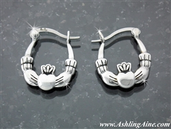 Classical Double Sided Claddagh Hoop Earrings ( S103)