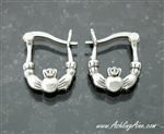 Classical Small Double Sided Claddagh Hoop Earrings ( 129)