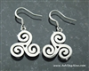 Triskelion Celtic Earrings, Triskele , Newgrange, Irish, Scottish , Welsh, Faith Symbol( S198)