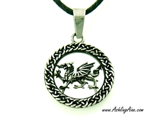 Welsh Dragon Stainless Steel Pendant/Necklace, Celtic Welsh Dragon Necklace, Y Ddraig Goch Pendant, The Red Dragon Celtic Pendant/Necklace(s(s214cord)