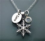 "Stainless Steel Snow Flake Necklace with 16"" - 20"" adjustable chain, Love tag and CZ Stone(S218E)"