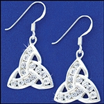 "316 L Stainless Steel ""Evening in Ireland"" CZ Trinity Knot Earrings (#S22)"