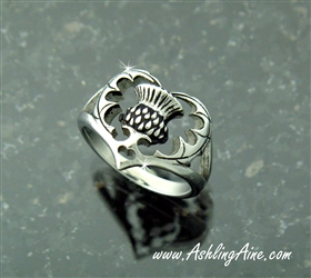 Scottish Thistle Heart Ring, 316 L Stainless Steel size 4 - 10 (S221)