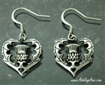 Bold Scottish Heart Thistle Earrings I love Scotland(S222)