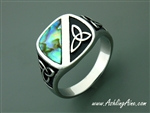 Genuine Abalone Trinity Ring, Trinity Knot Stainless Steel Ring, (S236)