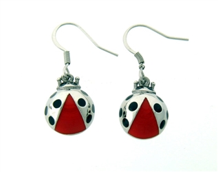 Lady Bug French Wire Earrings (S237)