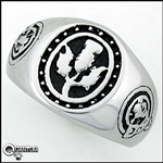 Stainless Steel Men's Scottish Thistle Lion Rampant Signet Ring (#S24)
