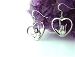 "American Sign Language ""I love you"" Heart Earrings, Stainless Steel Heart Earrings, ASL ""I love you"" hand symbol French Wire Earrings"
