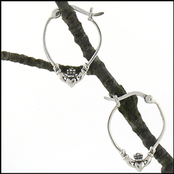 316 L Stainless Steel Claddagh Hoop Earings (#S25)
