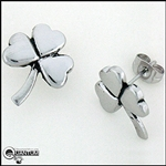 Stainless Steel Shamrock Post Earrings (#S26)
