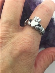 316L Bold Stainless Steel Claddagh Ring (#S33)
