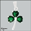 316 L Stainless Steel Emerald Green Shamrock Pendant (#S37)