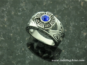 316 L Stainless Steel Emerald, Sapphire, or Red CZ Island Celtic HIGH Cross  Ring (#S5)