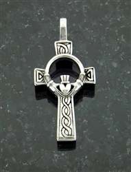 Bold Celtic Claddagh High Cross Pendant (S73B)