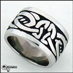 Stainless Steel Celtic Knot Wide Band Ring (#S8)