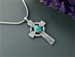 Turquoise Celtic High Cross Necklace, (s84TUR), men's /women's Celtic Cross,  Irish Cross, Scottish, Welsh, Christian