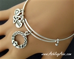 Irish Claddagh & Love knot Adjustable Bangle Bracelet(SNCH6BANGLE)