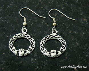 Irish Claddagh & Love knot french wire Earrings(SNCH6EAR)