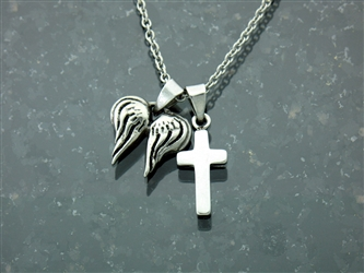 "Angel Wings and Cross Necklace Psalms 91 On a 16-20"" Chain Can be personalized"