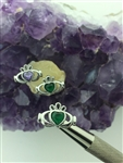 Claddagh Emerald & Amethyst CZ POST Earrings (S160)