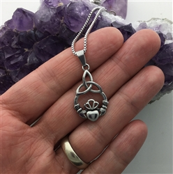 "Modern ""Take Me Home"" Claddagh & Trinity Ring Necklace (S187) Irish Ireland Necklace"