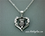 "Bold Scottish Thistle Pendant I love Scotland with 16""- 20"" chain in Stainless Steel"