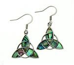 Genuine Abalone Trinity Earrings, Stainless Steel Abalone Earrings(s231), French Wire Trinity and Abalone Earrings