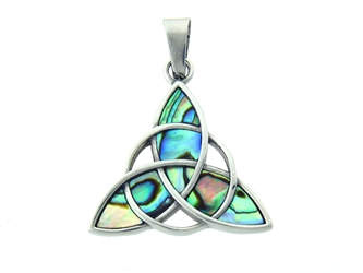 Stainless Steel Large Abalone Trinity Pendant S232, Genuine Abalone Celtic Trinity Pendant, Ocean Shell Pendant
